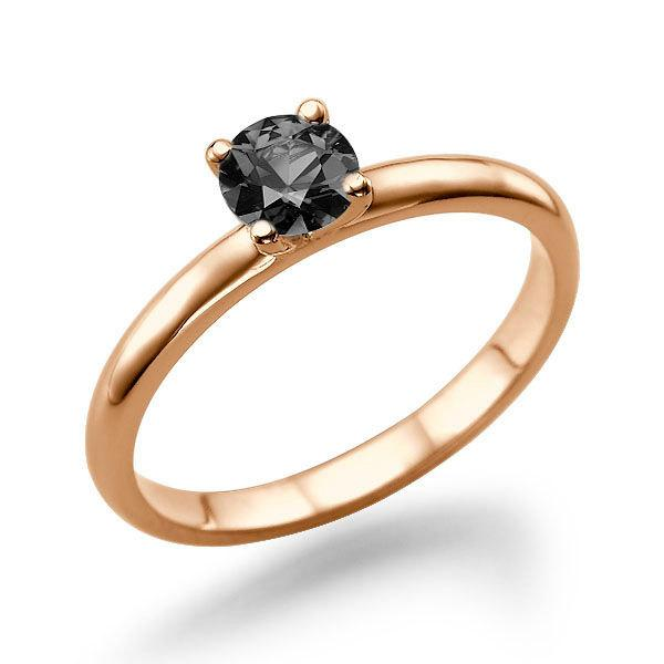 Mariage - Rose Gold Engagement Ring, Black Diamond Ring, Solitaire Engagement Ring, 0.50 CT Black Diamond Ring, Diamond Ring Vintage