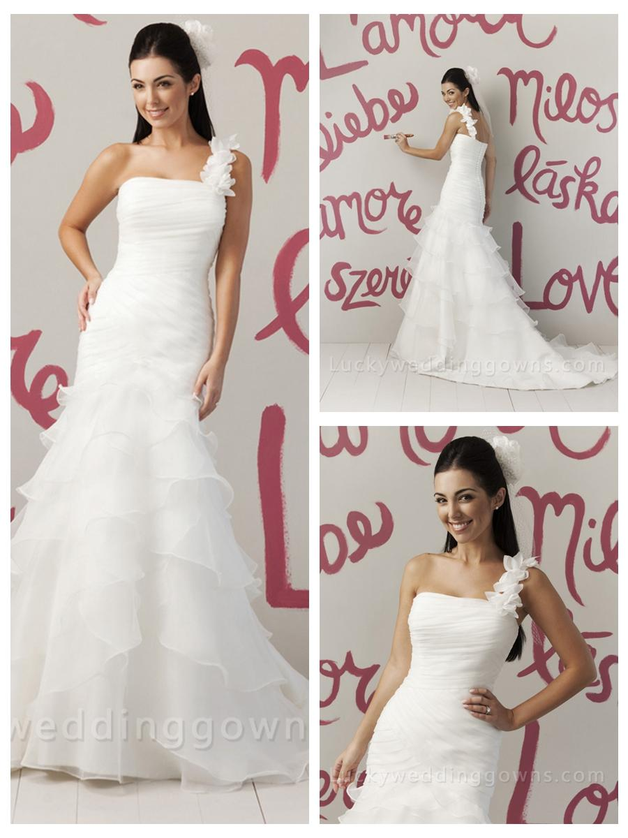 Свадьба - Allure Organza One Shoulder Summer Wedding Dress with Draped Tiered Skirt