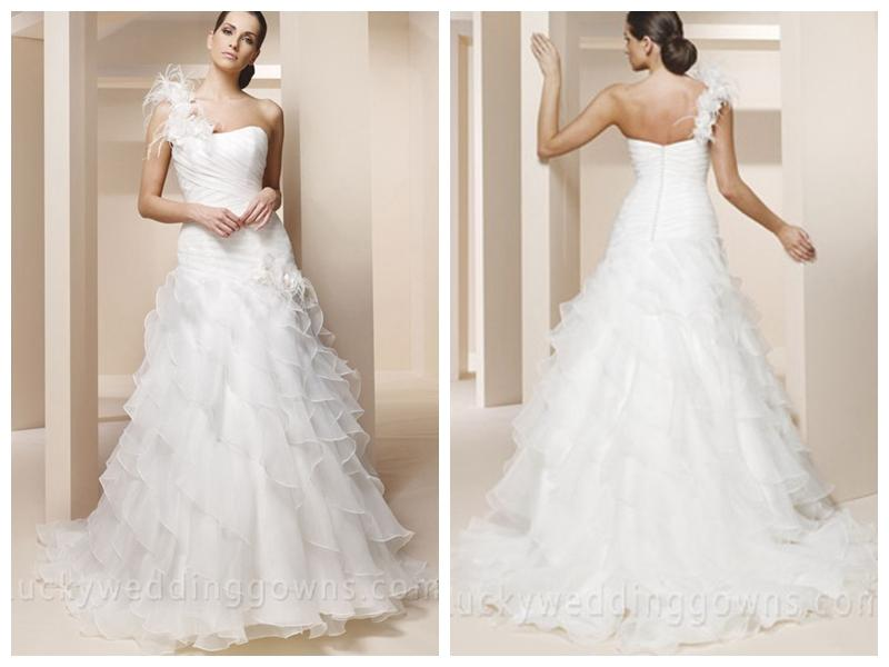One shoulder trumpet wedding dress with ruffled layered for Tulle layered wedding dress
