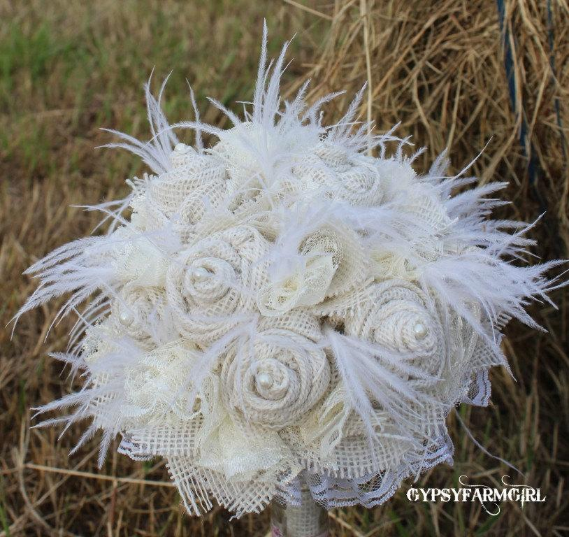 Свадьба - All White / Cream Burlap, Lace, Feathers, and Pearls Rustic Chic Bridal Wedding Bouquet