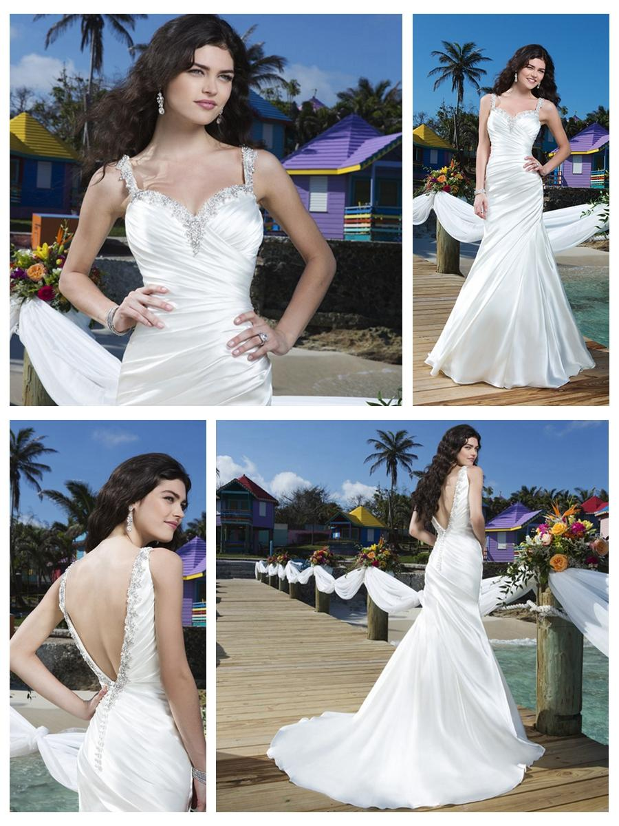 Wedding - Beaded Straps Charmeuse Asymmetric Pleated Mermaid Wedding Gown with Deep V-back