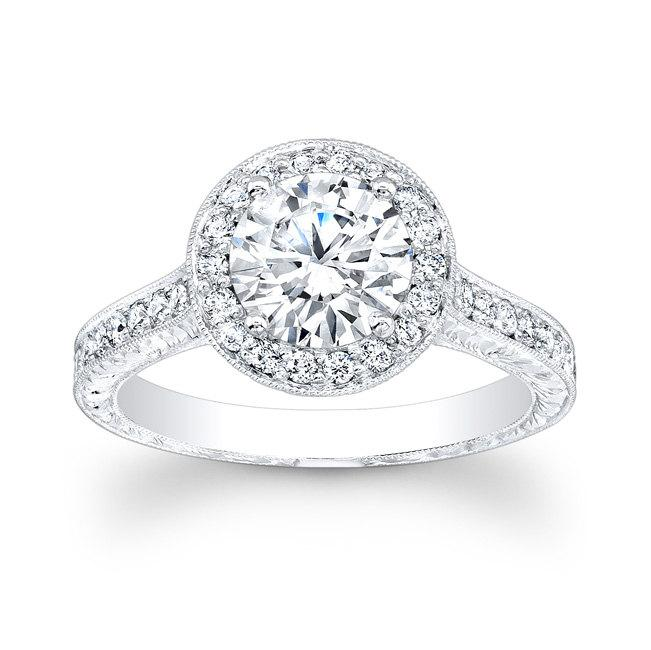 Mariage - Platinum antique engagement ring with 0.50 carats G-VS2 quality and 1.50ct natural round white sapphire center