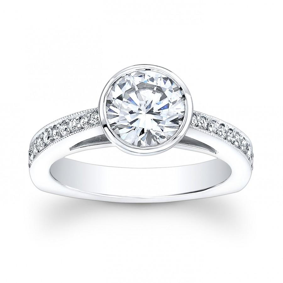 Свадьба - Ladies 14kt white gold vintage engagement ring with 1ct Round White Sapphire Center and 0.25 ctw G-VS2 pave diamonds