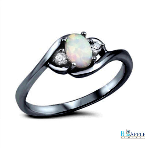 زفاف - Oval Cut White Opal Ring Black Gold Solid 925 Sterling Silver Lab Created White Opal Round Russian Clear Diamond CZ Wedding Engagement Ring