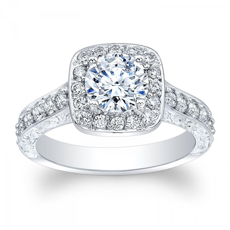 Ladies 14kt White Gold Antique Engagement Ring With 1 Ct Natural Round  Brilliant White Sapphire 060 Ctw G Vs2 Natural Diamonds