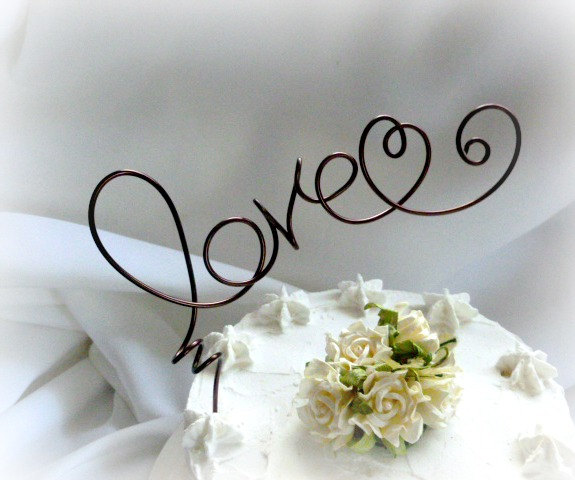 Mariage - Rustic Cake Topper, Casual Wedding Decor, Love In Custom Colors
