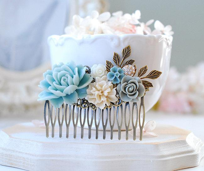 Mariage - Baby Blue Beige Ivory Gray Flower Collage Hair Comb, Leaf Rose Floral Rhinestone Large Comb, Something Blue Wedding Bridal Hair Accessory