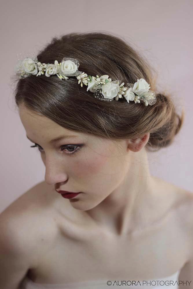 Wedding Hair Wreath Ivory Flower Crown Headband Fl Bridal Headpiece Piece Halo