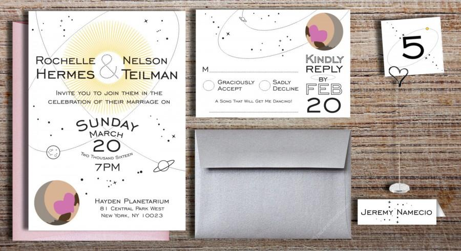 Mariage - Space Themed Wedding Invitation Suite // Solar System Astronomy, Astrology Wedding // Digital Printable DIY Invitation Option