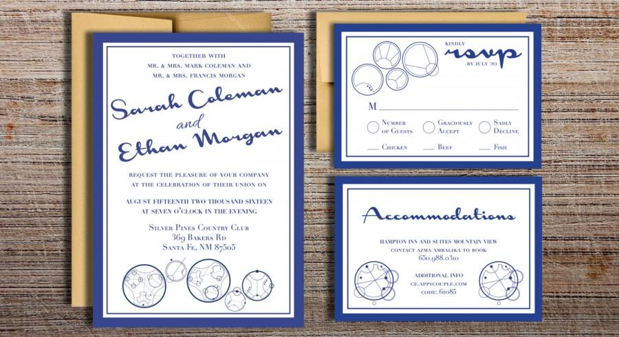 زفاف - Gallifreyan Doctor Who Inspired Wedding Invitation Suite // Doctor Who Classic TARDIS Blue Wedding // Printable DIY Invitation Option