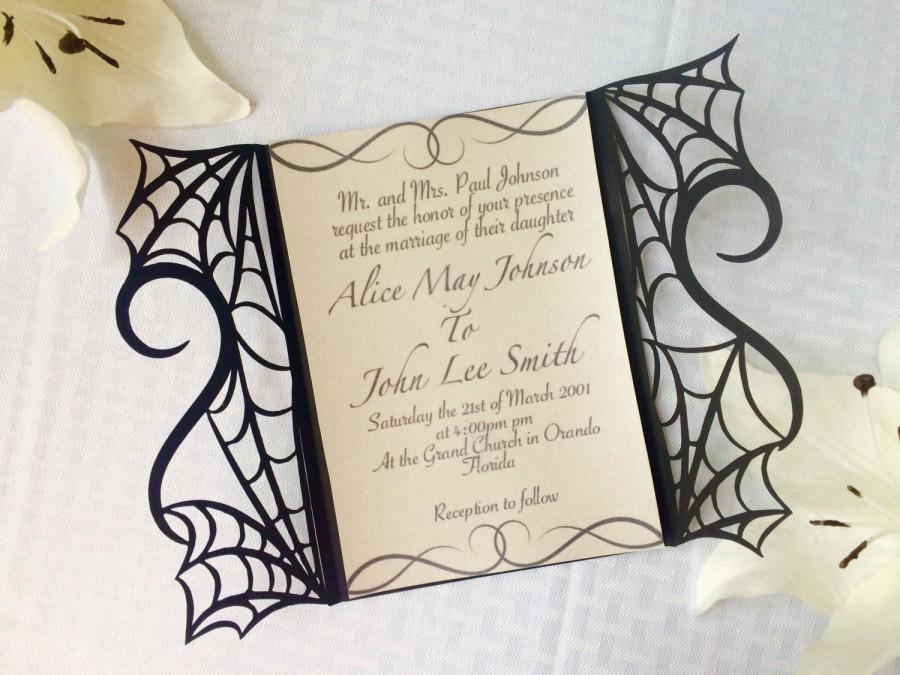 gothic spider web halloween wedding invitation laser cut gatefold diy kit spooky love heart party