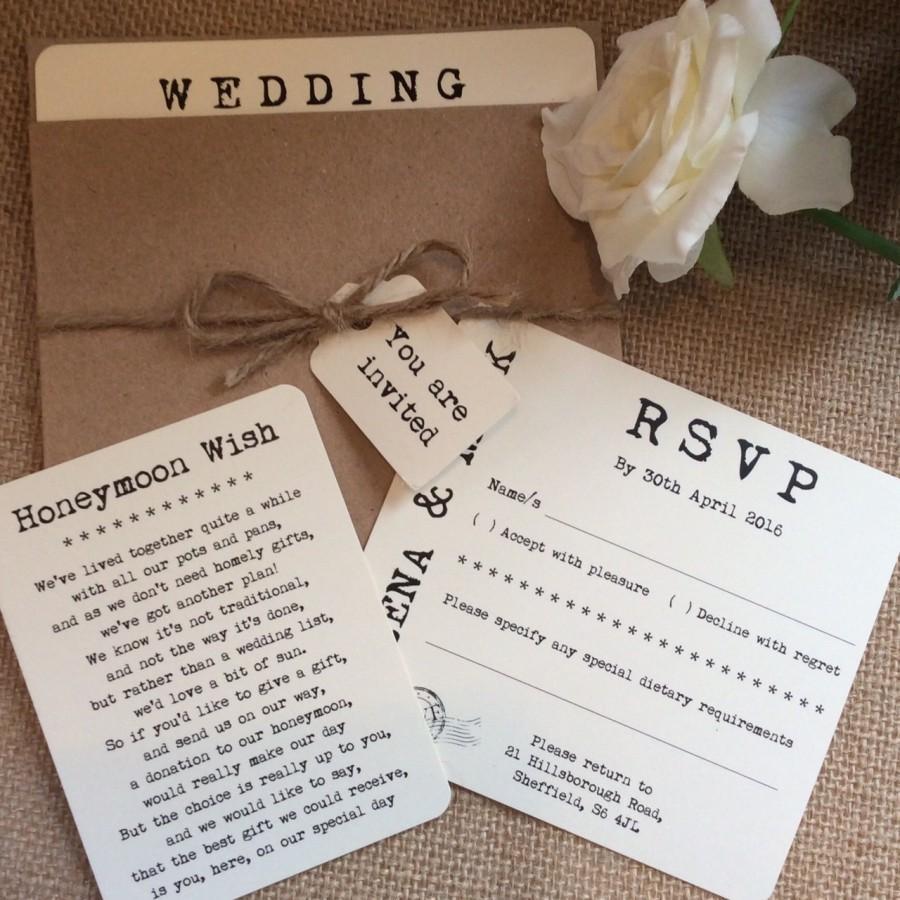 Vintage/Rustic Pocket 'Helena' Pocket Wedding Invitation With RSVP ...