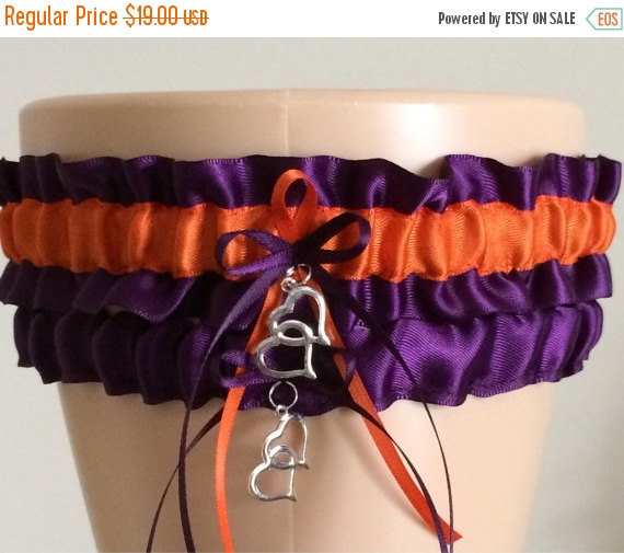 Свадьба - Garter Sale Plum/Purple and Orange Wedding Garter Set, Bridal Garter Set, Keepsake Garter, Prom Garter, Wedding Accessories