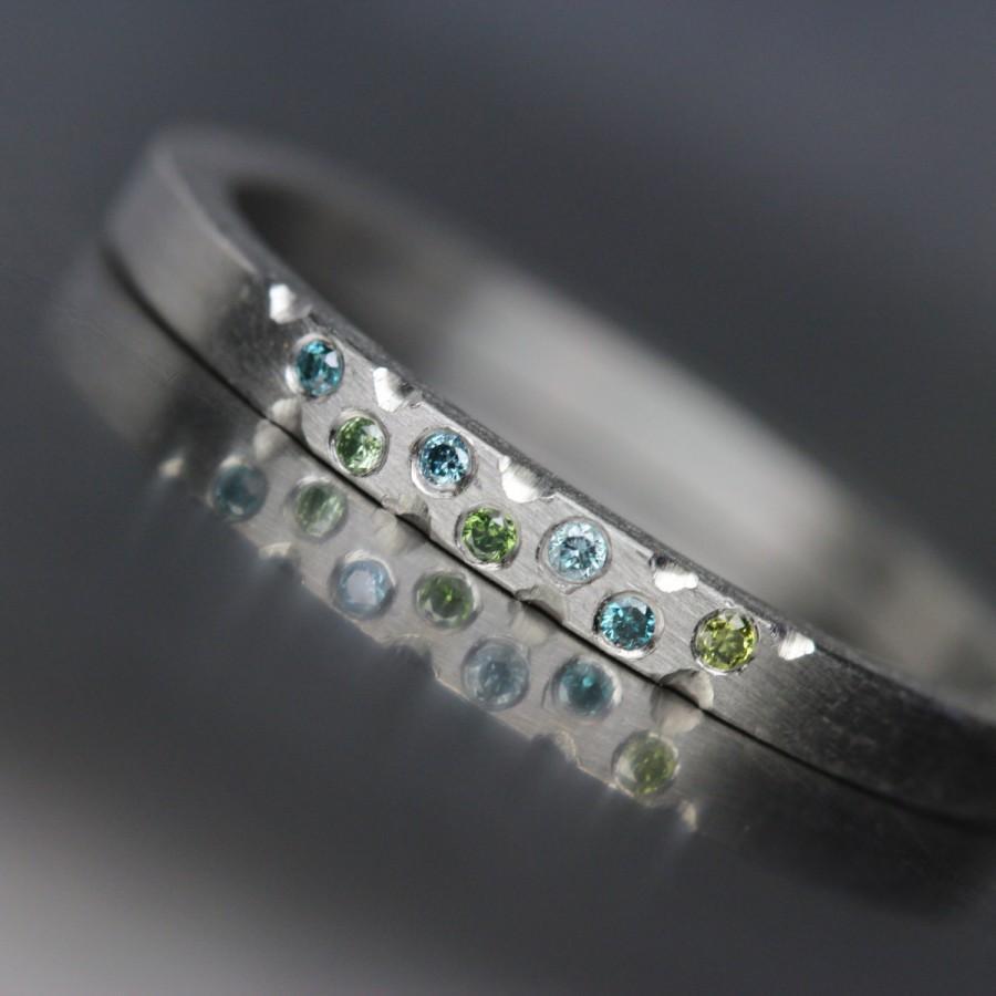زفاف - Women's Platinum Green Blue Diamond Wedding Band Modern Underwater Ocean Romantic Luxurious Minimalistic  - Mermaid Bubbles