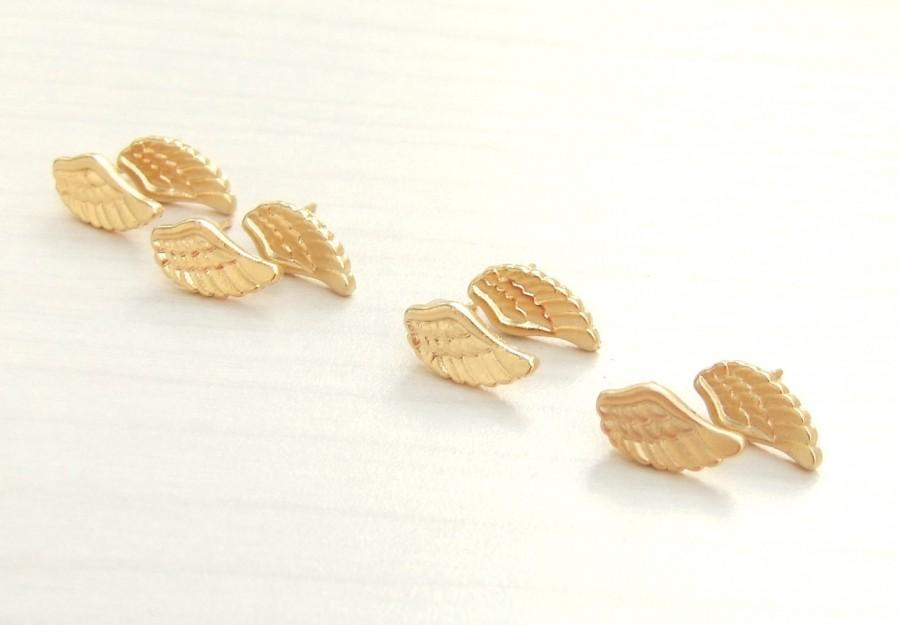 Four Bridesmaids Gold Earrings Angel Wing Studs Wings Gift 4 Pairs