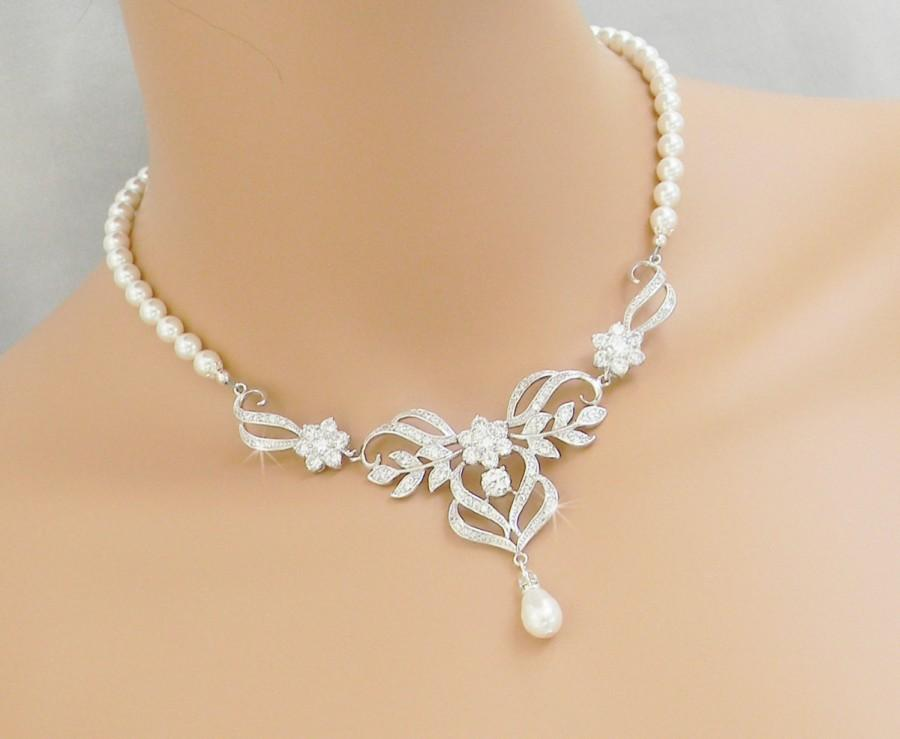 Bridal necklace wedding back drop necklace pearl brical for Back necklace for wedding dress