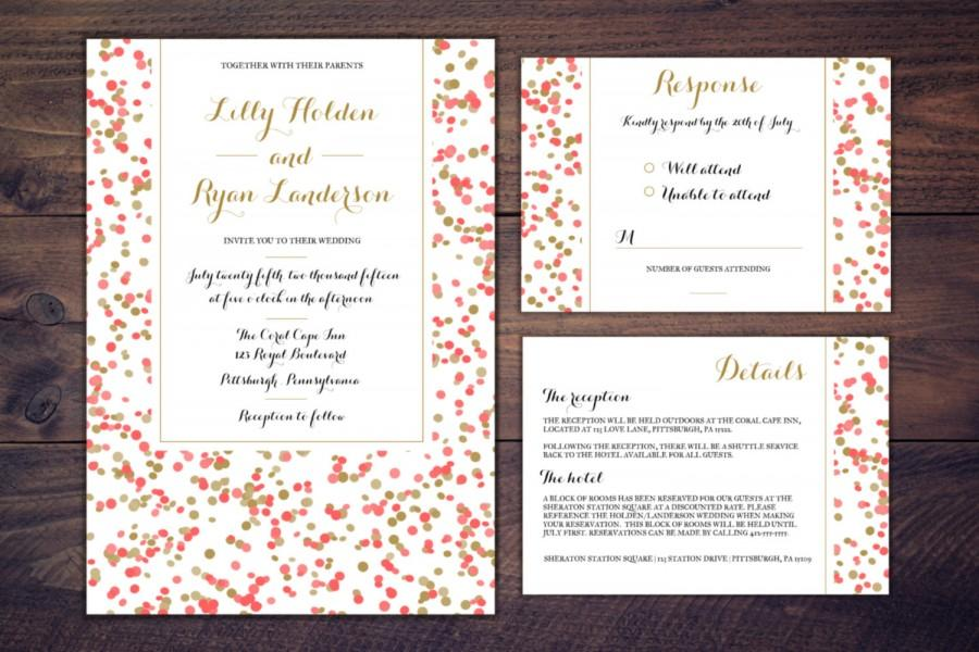 Wedding Invitation Suite Confetti Modern Wedding Invitation Gold ...
