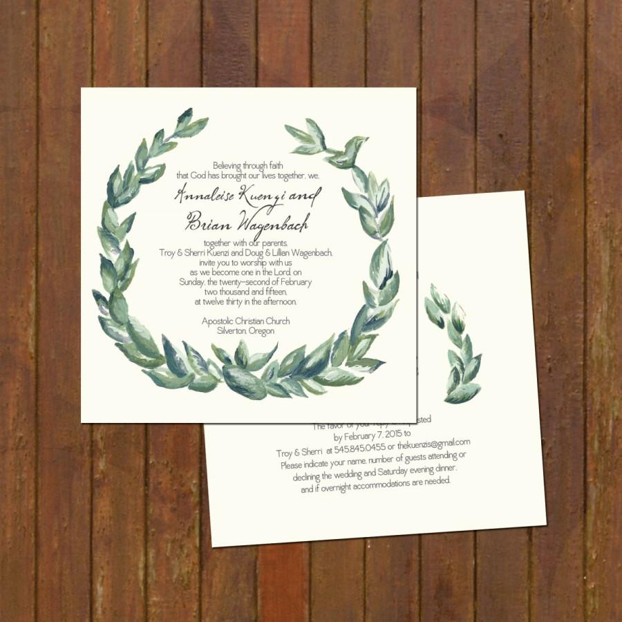 Mariage - Laurel Wreath Painted Wedding Invitations - unique 5x5 square invitations (185)
