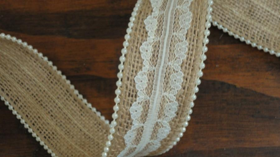 1 5 Inch Burlap Lace Ribbon With Pearl Trim Ivory Rustic Wedding Decor Country