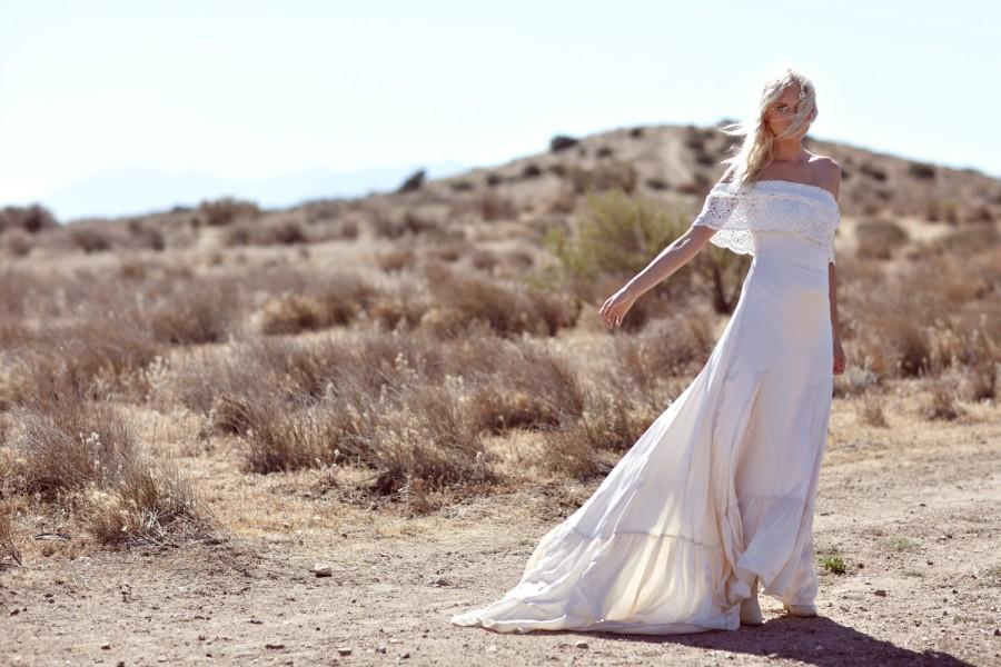 "Wedding - Bohemian Wedding Dress 1970s Hippie Bohemian Gown Silk Ivory Off The Shoulder Lace Ruffle Trim - ""Casablanca"""