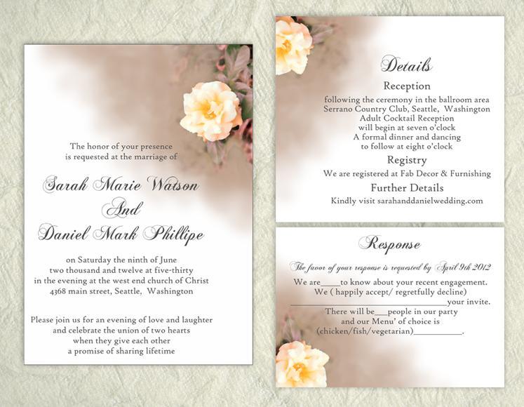 Mariage - DIY Wedding Invitation Template Set Editable Word File Instant Download Printable Floral Invitation Rose Wedding Invitation Peach Invitation
