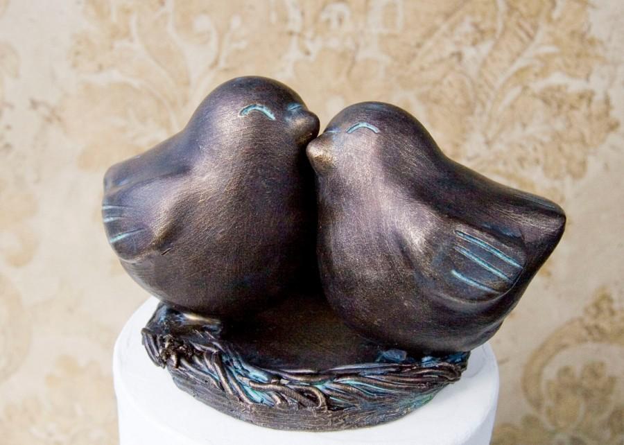 Свадьба - Antique Bronze Finish Love Bird Cake Topper