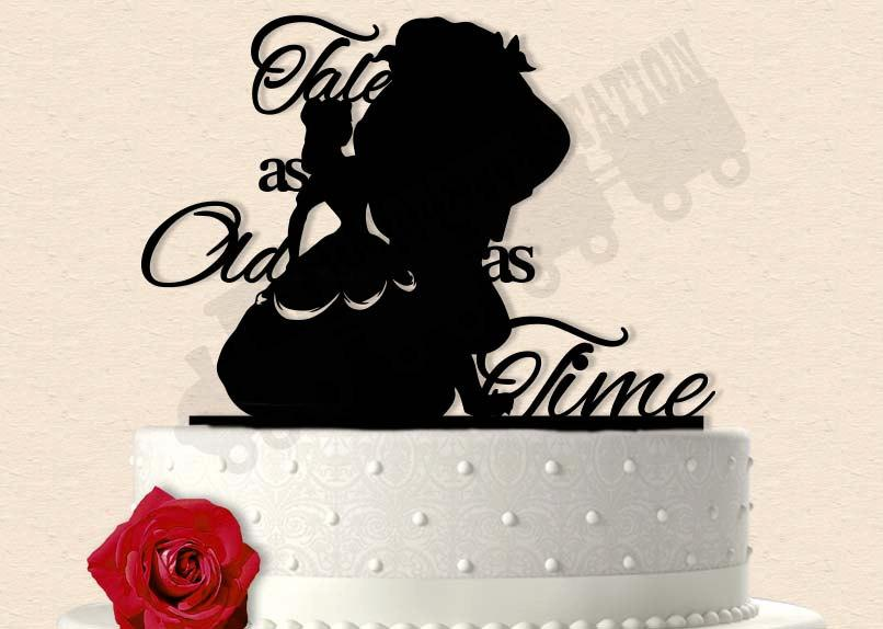 Свадьба - Beauty and the Beast Inspired Tale as Old as Time Wedding Cake Topper