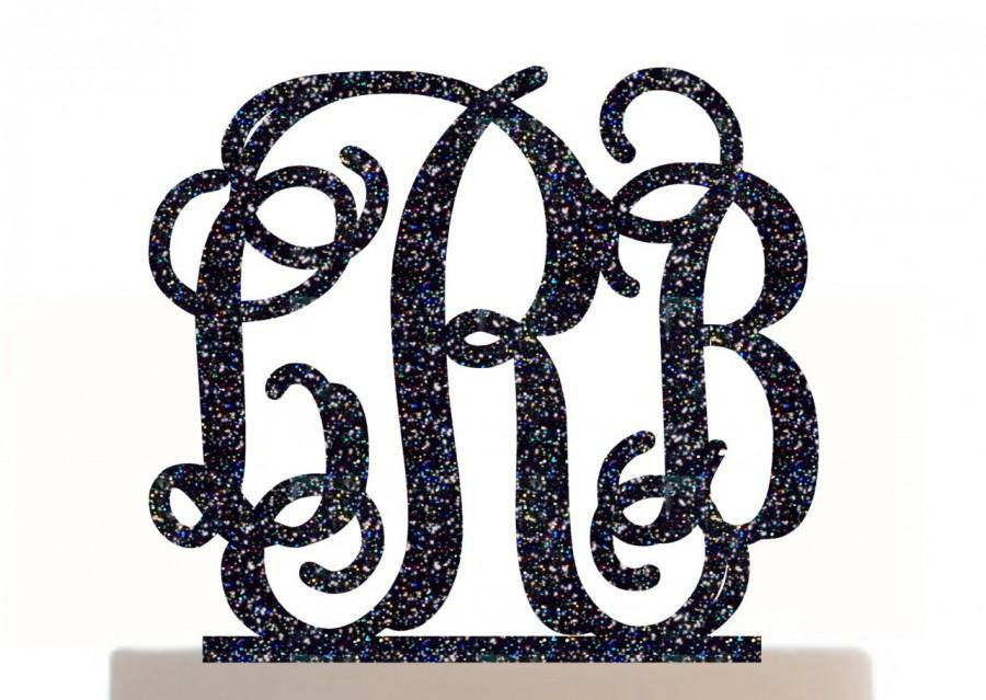 Свадьба - Wedding Cake Topper Monogram Initial Personalized with choice of color and a FREE base for display