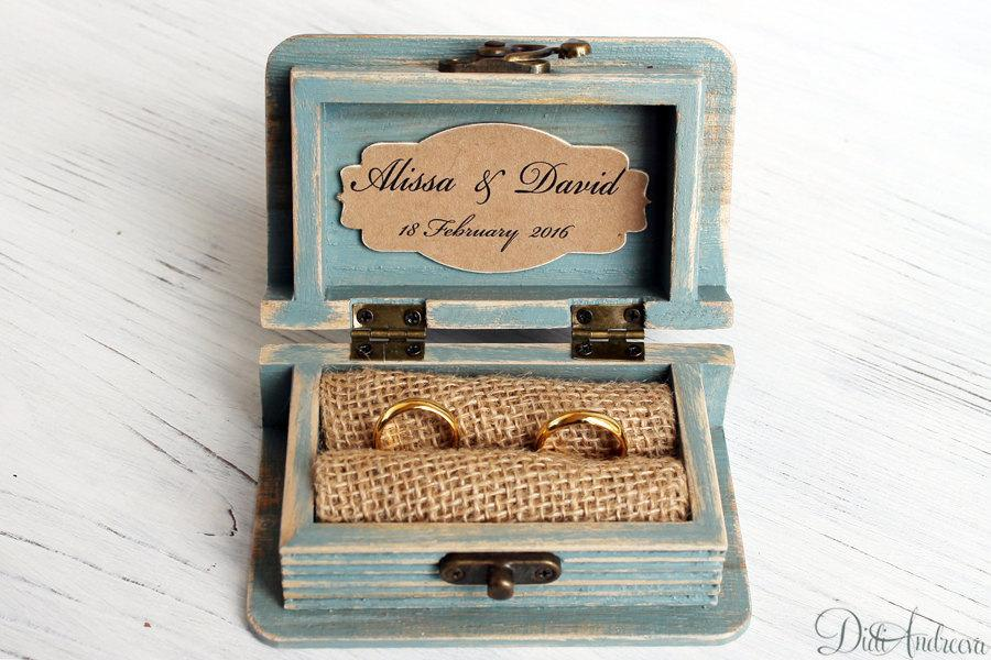 Wedding Ring Box Bearer Jewelry Wooden Mr And Mrs Personalized Bright Aqua Blue