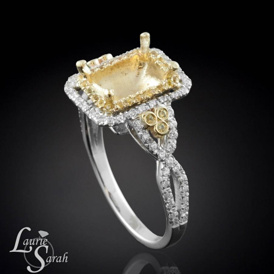 Yellow Shire And Diamond Ring Semi Mount For An Cher Cushion Emerald Radiant Rectangular Or Princess Cut Gemstone Ls273