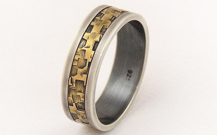 Свадьба - Men's engagement ring - 7mm wide,men's wedding band ring,sterling silver and brass