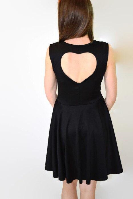 Свадьба - Sweetheart Dress, Black, Cut Out Heart Back, Full Circle Skirt - many colors and custom size