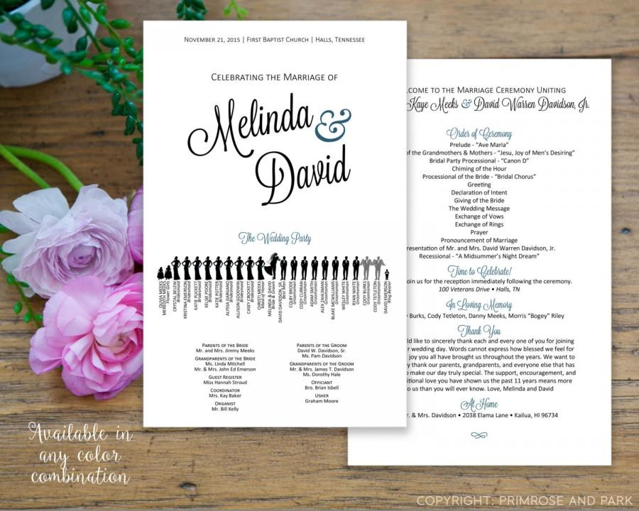 silhouette wedding program printable pdf fan program or double dided