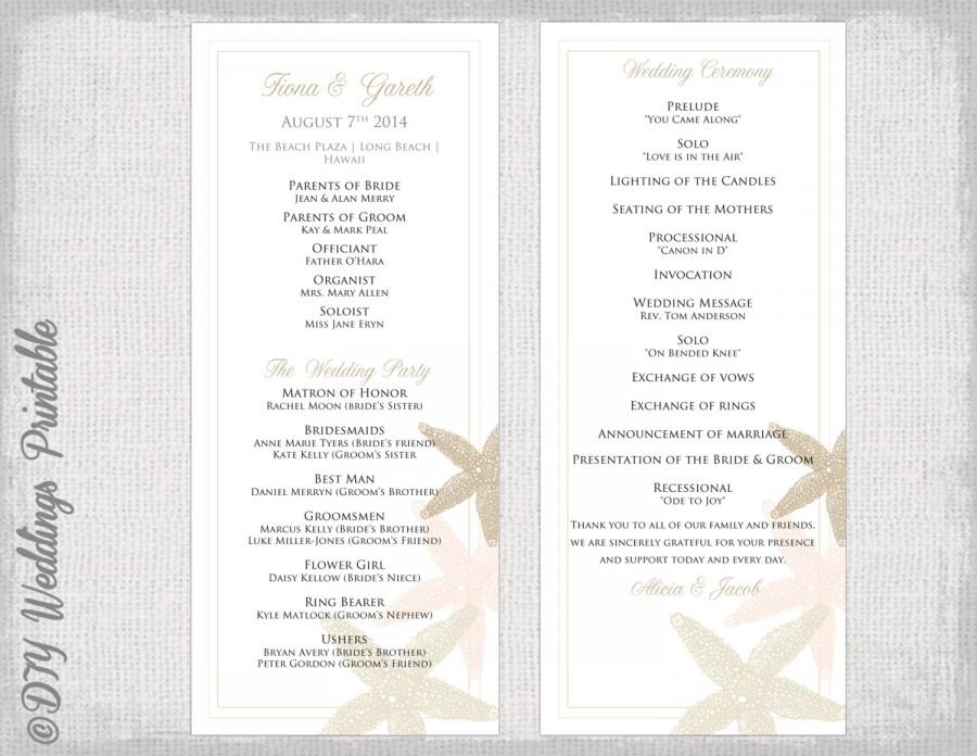 Beach wedding program template starfish wedding for Wedding ceremony order of service template free