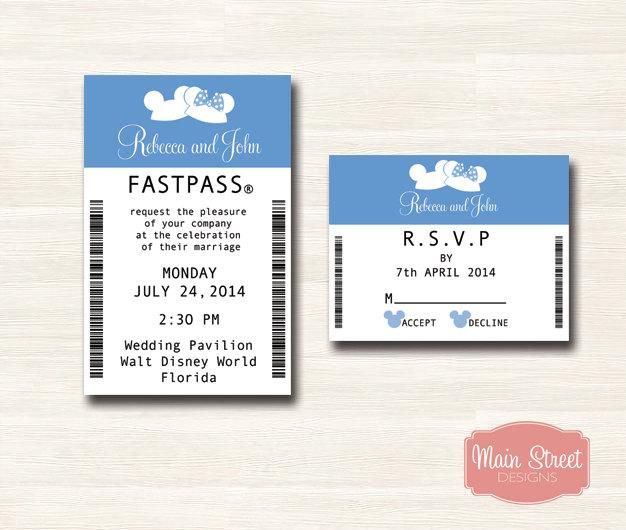 Ear Hat Fastpass Invitation And RSVP   Disney Wedding
