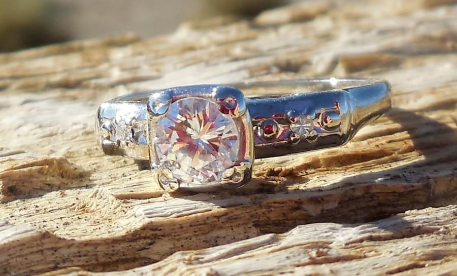 Свадьба - Vintage Antique .52ct Transitional Cut Diamond Unique Engagement Ring  Art Deco 14k White Gold Art Deco 1950's