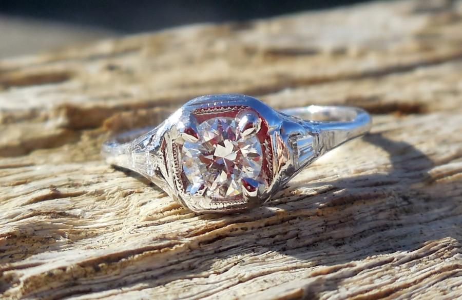زفاف - Vintage Antique .64ct Transitional & Baguette Cut Diamond Unique Engagement Ring Art Deco 1920's 14k White Gold Filigree