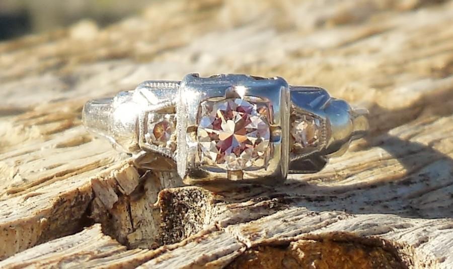 Свадьба - Vintage Antique .30ct Old European Cut Diamond Unique Engagement Ring Art Deco 1920's 14k White Gold Three Stone Ring