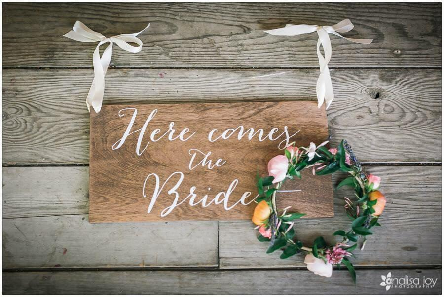 here comes the bride sign ringer bearer flower girl wooden wedding signs 2449806 weddbook. Black Bedroom Furniture Sets. Home Design Ideas