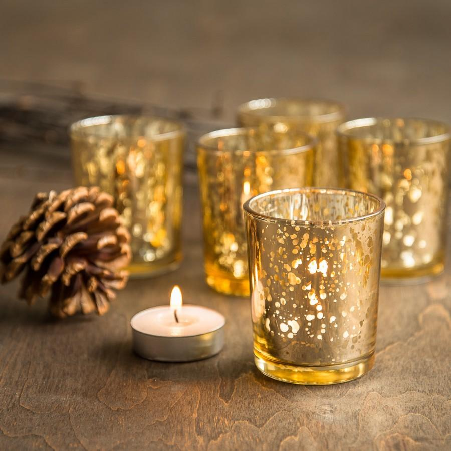 Свадьба - SET OF 72 Gold Mercury Glass Candle Votive Mercury Glass Tea Light Votive Holder Gold Mercury Glass Gold Speckled Glass Candle Holder