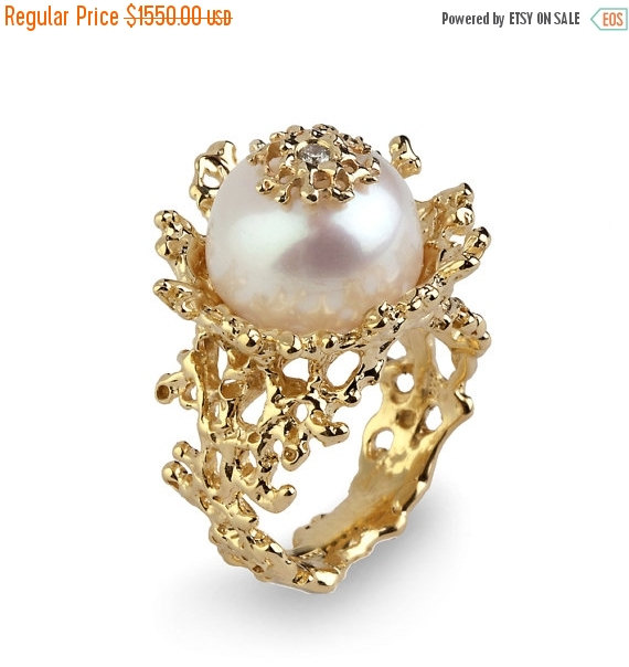 ON SALE CORAL Flower Pearl Diamond Ring Gold Pearl Diamond