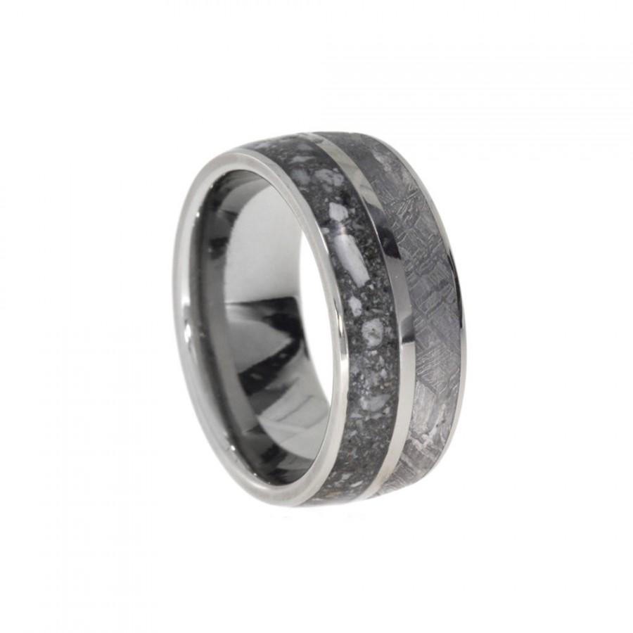 Свадьба - Special Titanium Ring with Gibeon Meteorite and Ash Inlay, Pet Memory Ring