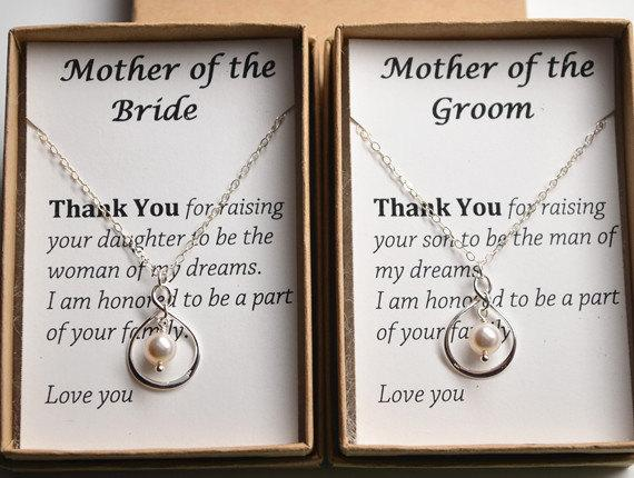 Wedding Gift From Groom To Mother In Law : Wedding - Set of 2 Mother of the bride and groom gift cards necklace ...