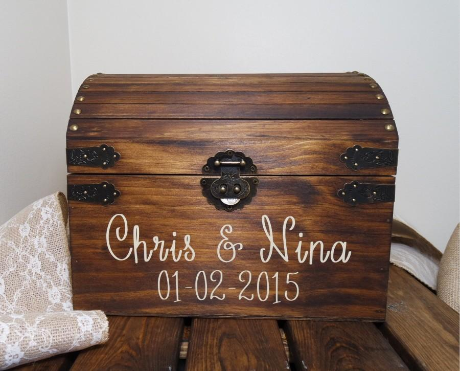 Rustic Wooden Chest Wedding Card Box Wedding Card Placement Box – Large Wedding Card Box
