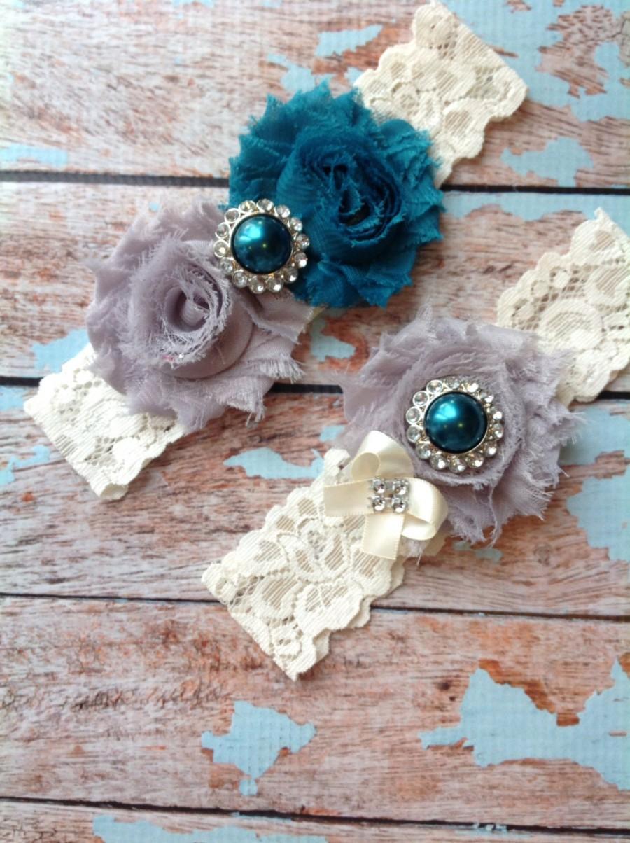 Свадьба - TEAL & GREY wedding garter set / bridal  garter/  lace garter / toss garter included /  wedding garter / vintage inspired lace garter