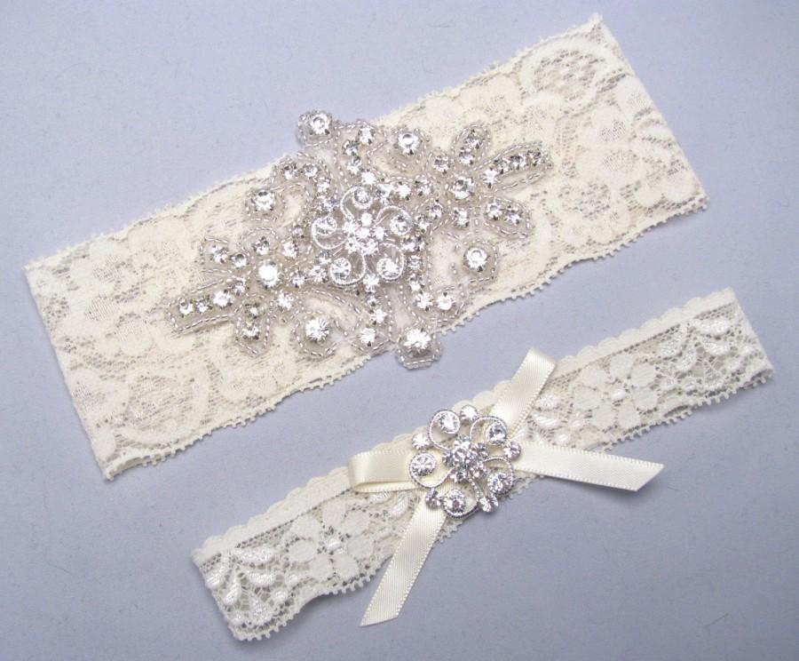Mariage - Wedding Garter Set, White / Ivory Rhinestone Keepsake / Toss Bridal Garter Set, Crystal Garter, Stretch Lace Garter, Love Forever Bridal