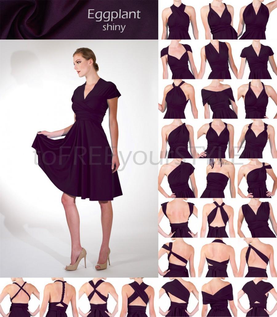 زفاف - Short convertible dress in EGGPLANT shiny, FULL Free-Style Dress, infinity bridesmaid dress, short infinity wrap dress, knee length dress