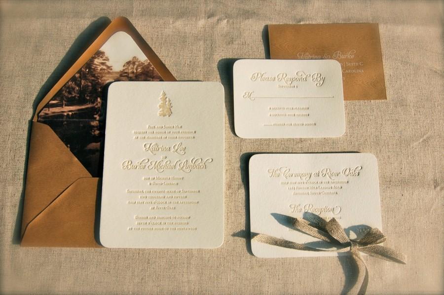 زفاف - Rustic Letterpress Wedding Invitations DEPOSIT