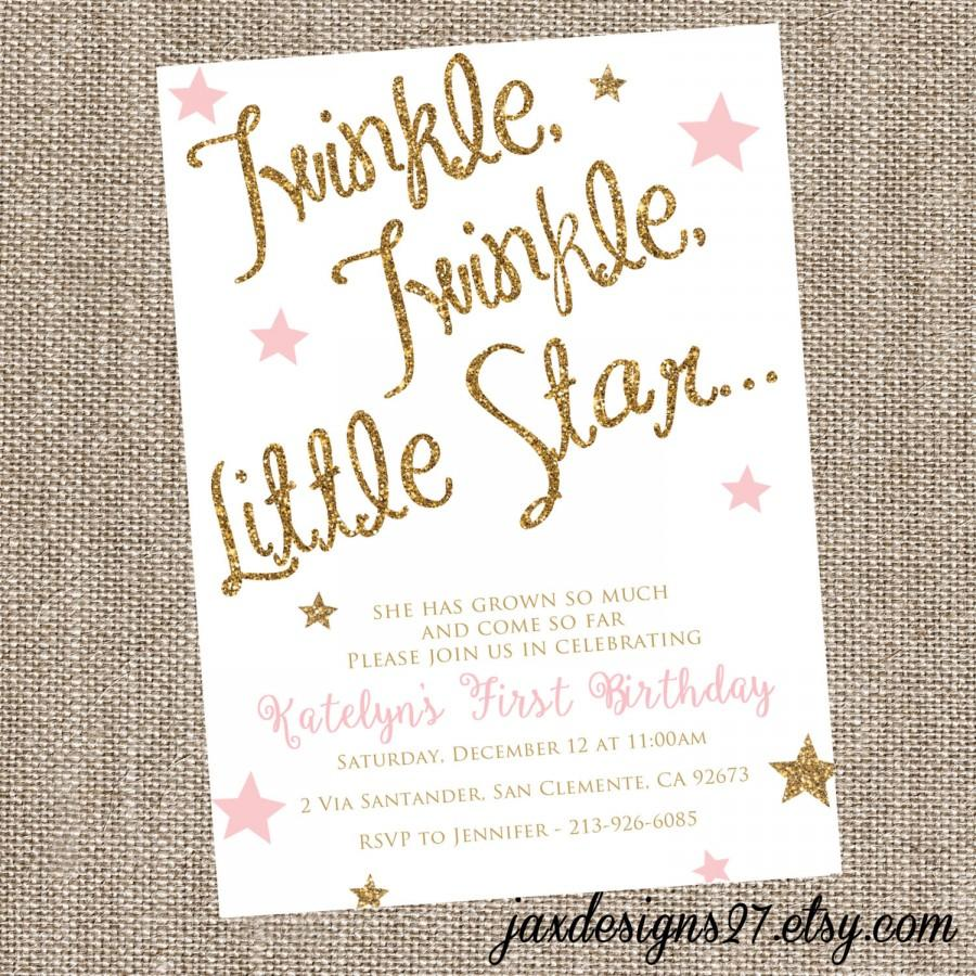 Sparkle birthday invitation twinkle twinkle little star pink sparkle birthday invitation twinkle twinkle little star pink birthday invitation glitter birthday invitation blush and gold birthday filmwisefo