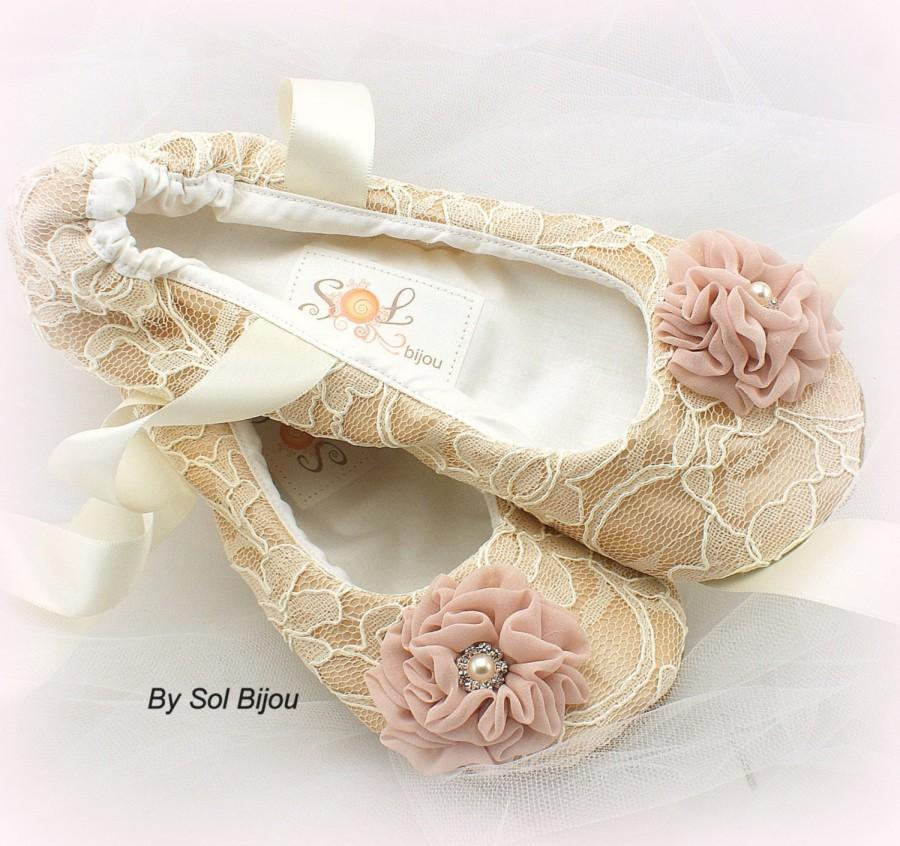 Ballet Flats, Champagne, Ivory, Blush, Wedding Shoes, Bridal ...